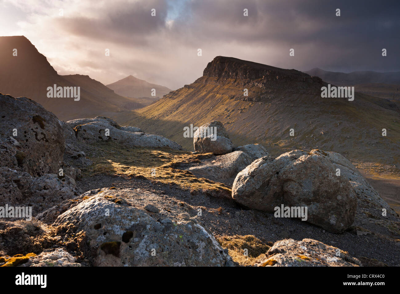 Mountainous interior of the island of Streymoy, one of the Faroe Islands. Spring (June) 2012. Stock Photo