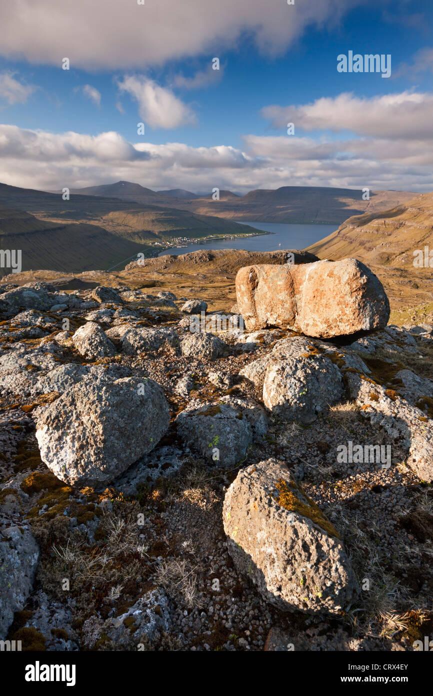 Mountain view looking towards Kollafjordur, Streymoy, Faroe Islands. Spring (June) 2012. - Stock Image