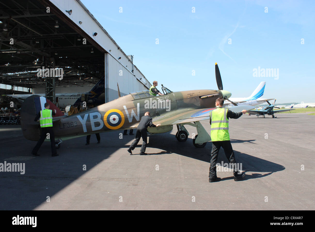 BBMF Hurricane  being pushed out of its hanger - Stock Image