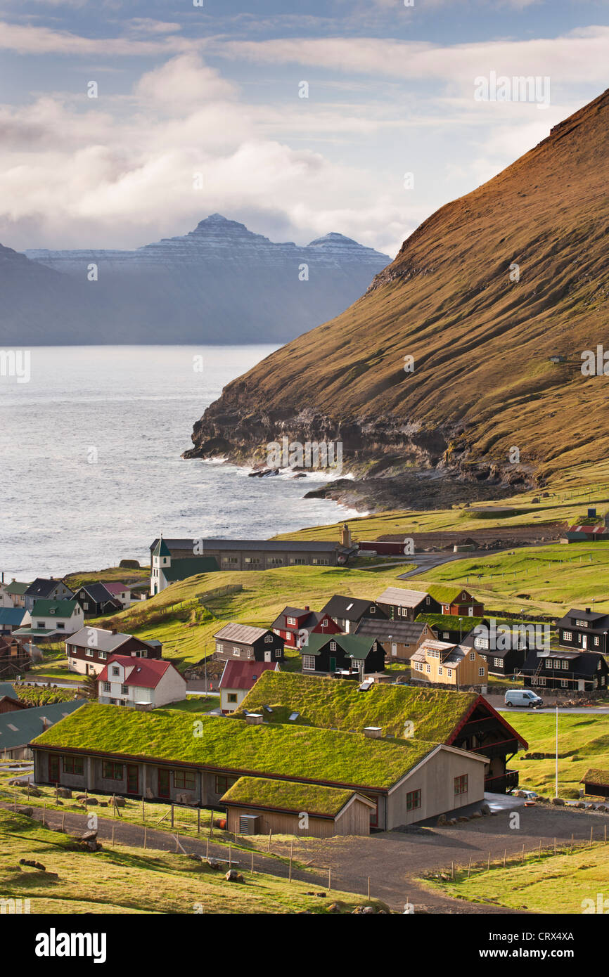 Picturesque village of Gjogv on Eysturoy in the Faroe Islands. Spring (June) 2012. - Stock Image