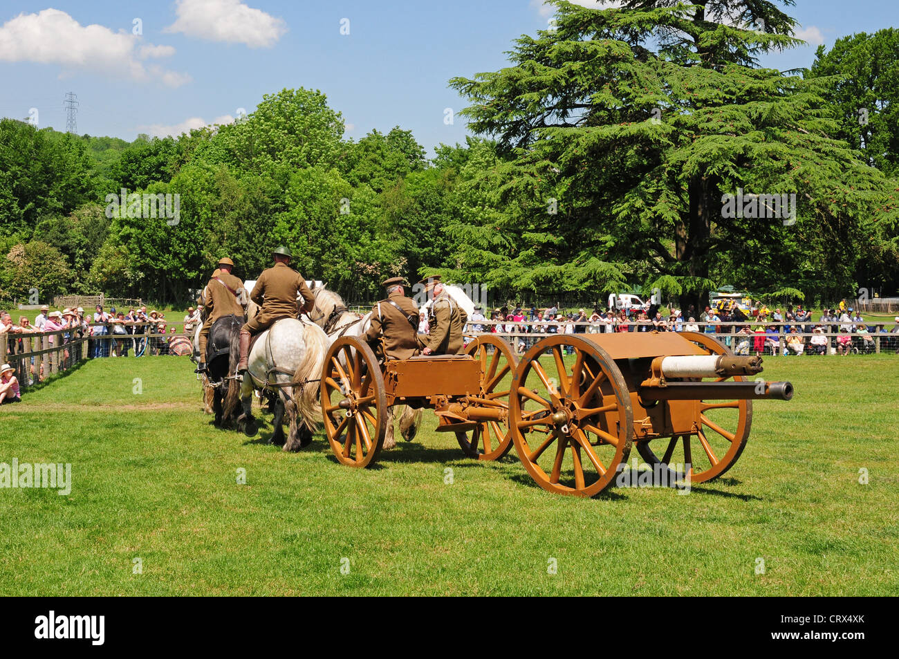 World War I gun carriage pulled by a team of heavy horses during a display at the Weald And Downland Open Air Museum, - Stock Image