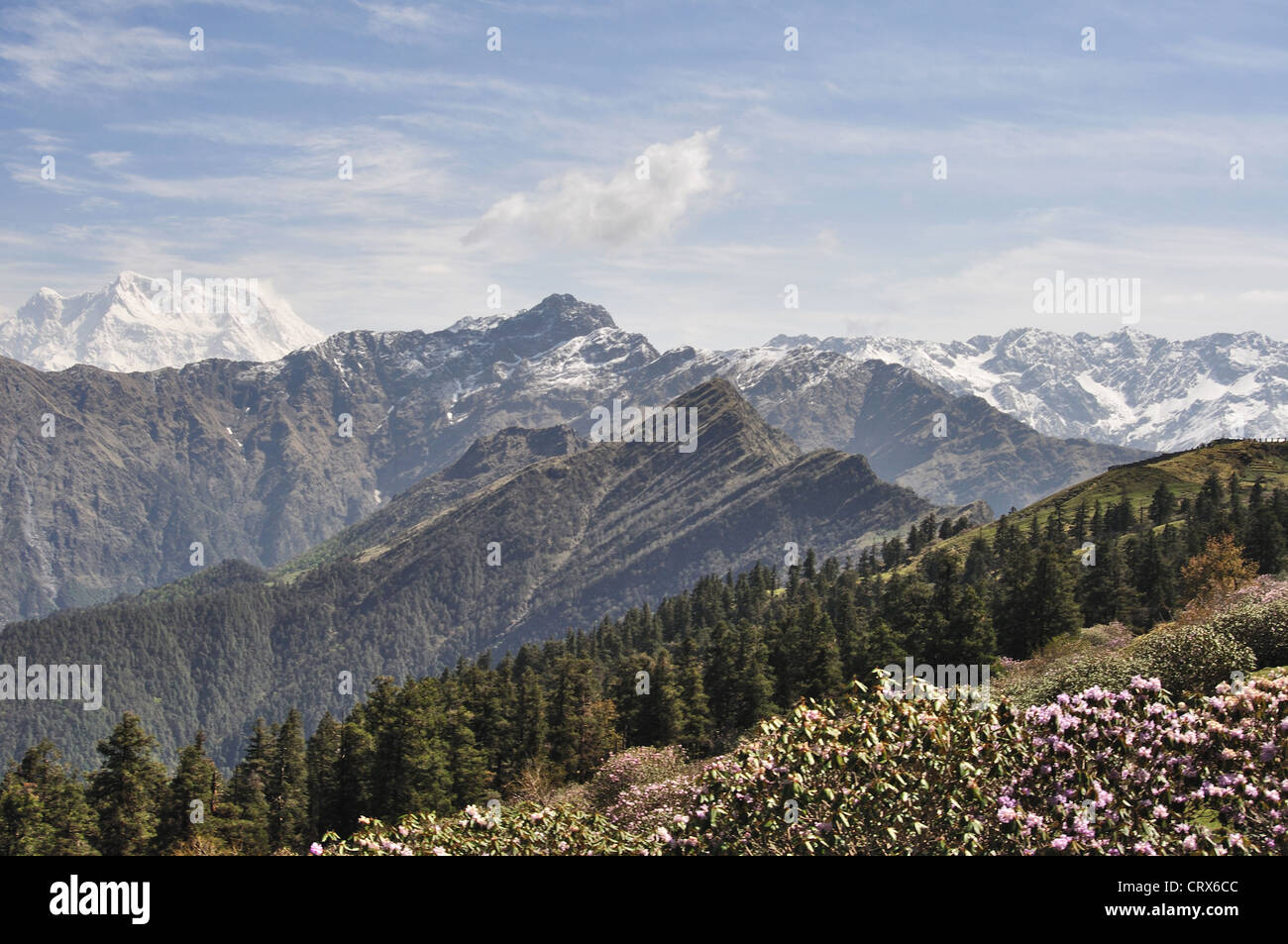 Landscape view of Himalayan ranges from Nepal - Stock Image