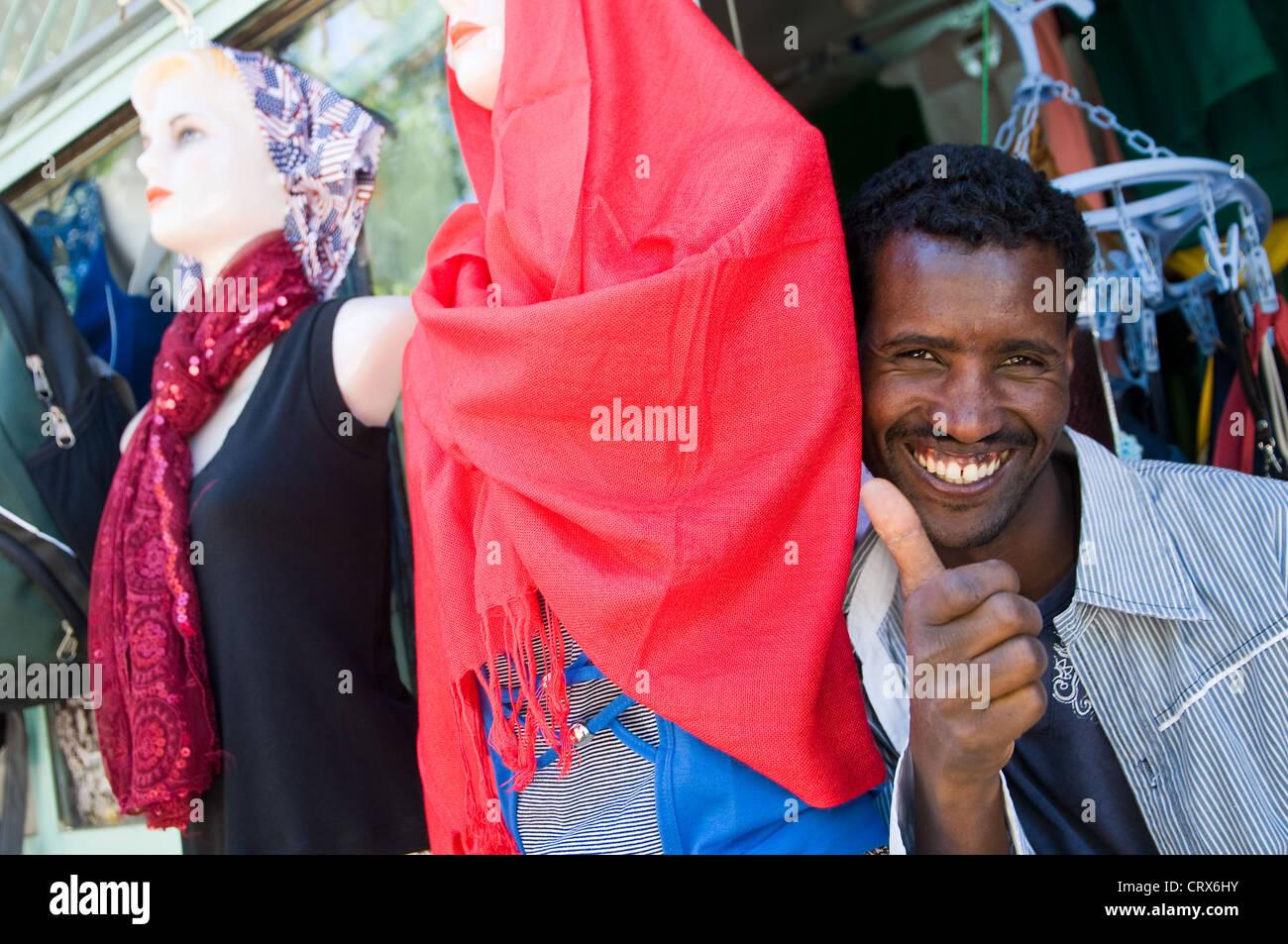 boutique in town, axum ethiopia - Stock Image