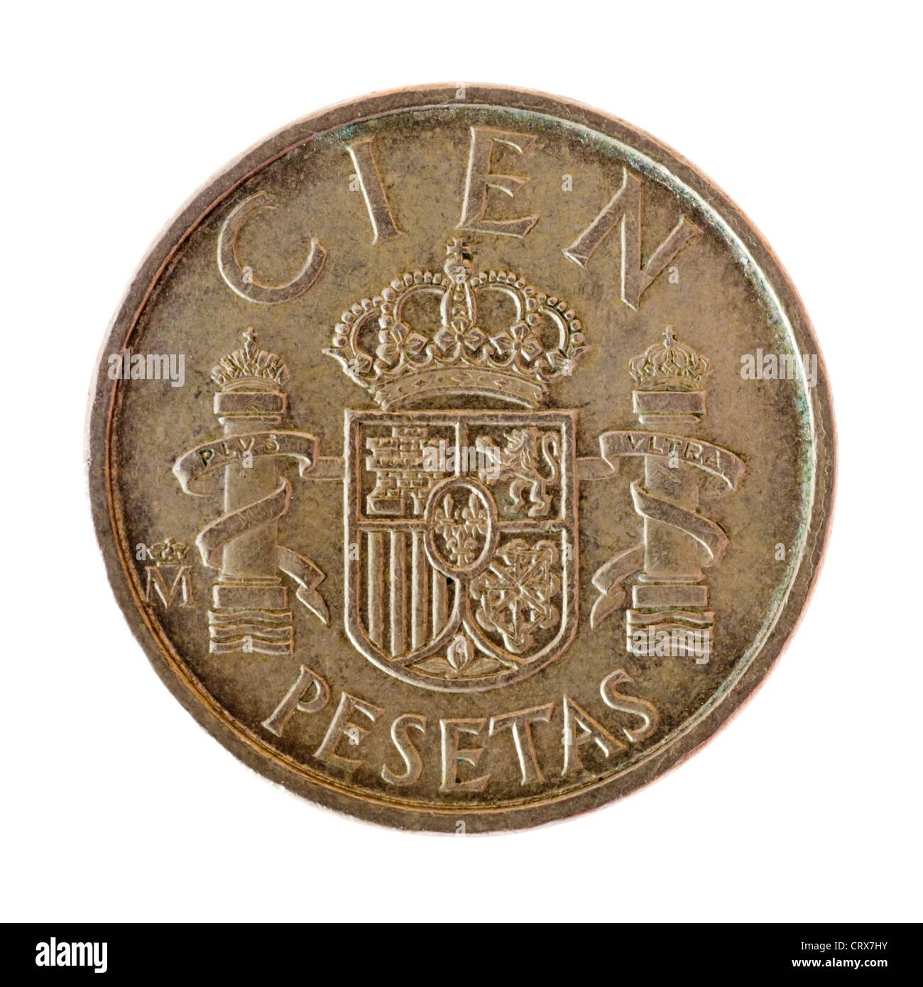 Old Spanish Pesetas coin - Stock Image