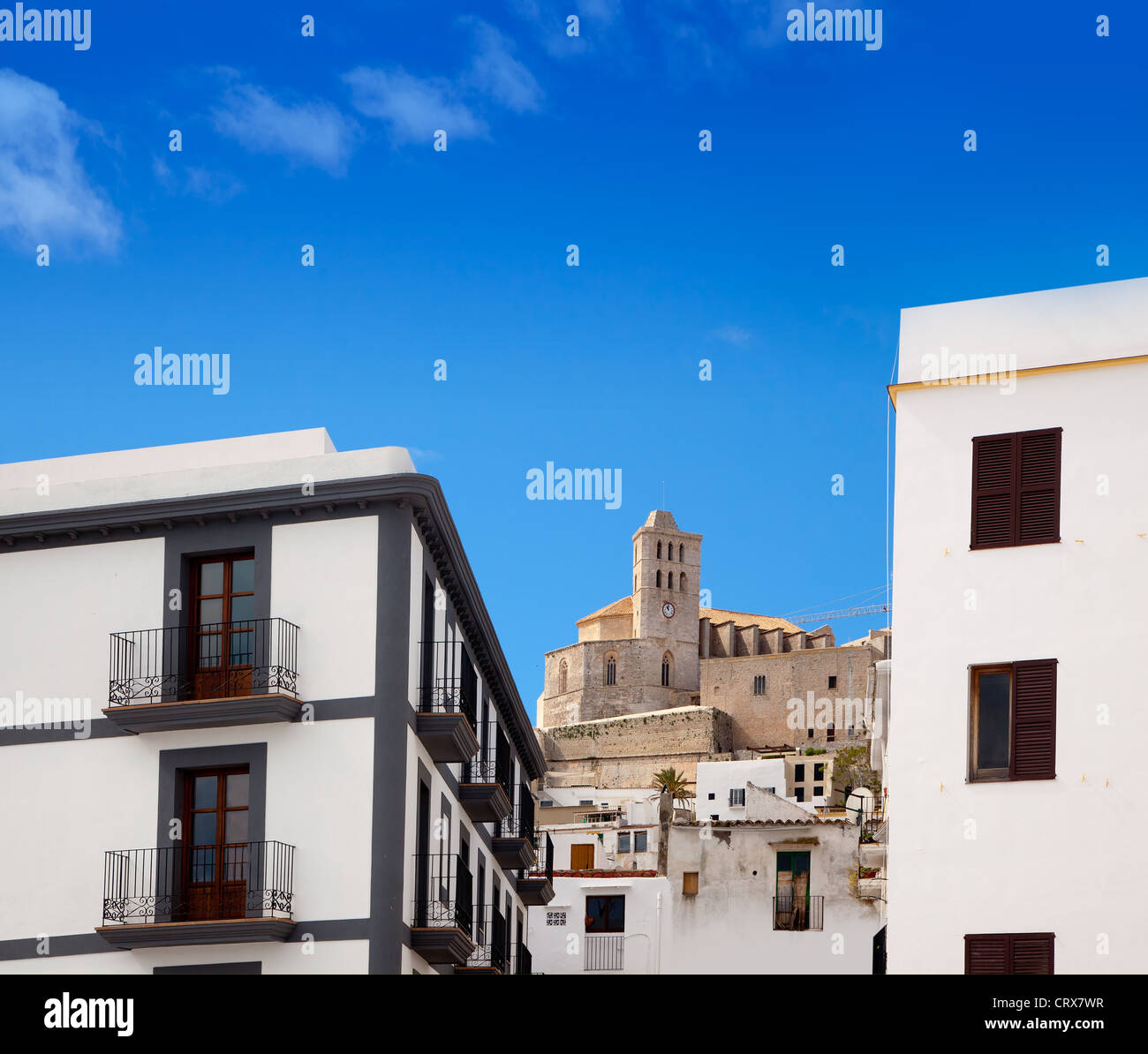 Eivissa Ibiza town with church under summer blue sky - Stock Image