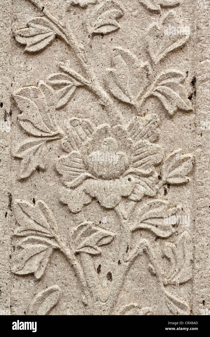 stone carvings of flowers, long-lasting beauty and timeless. - Stock Image
