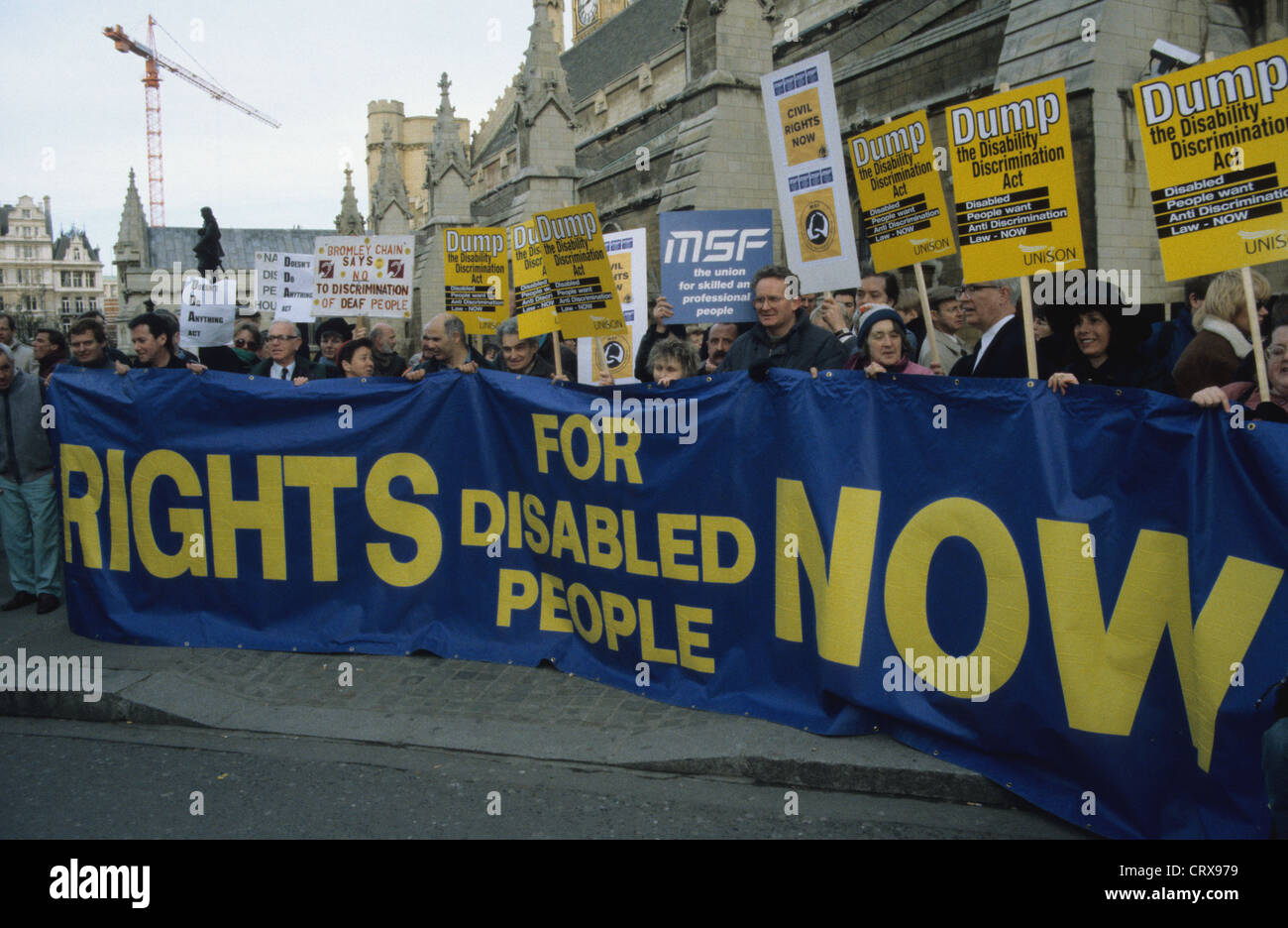 Disabled rights protesters at Parliament, Westminster England UK - Stock Image