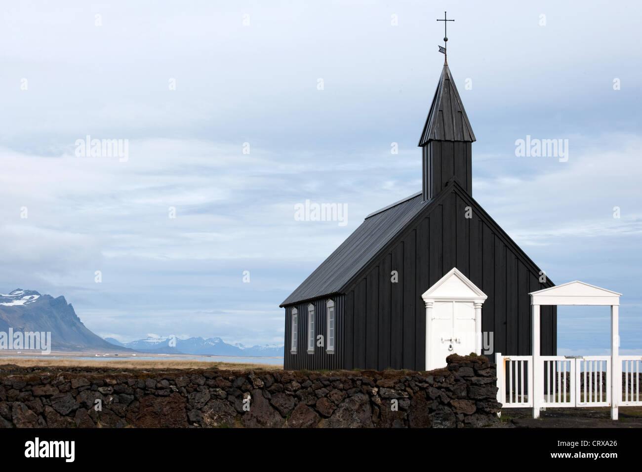 Budir Church, Snaefellsnes Peninsula, Western Iceland - Stock Image