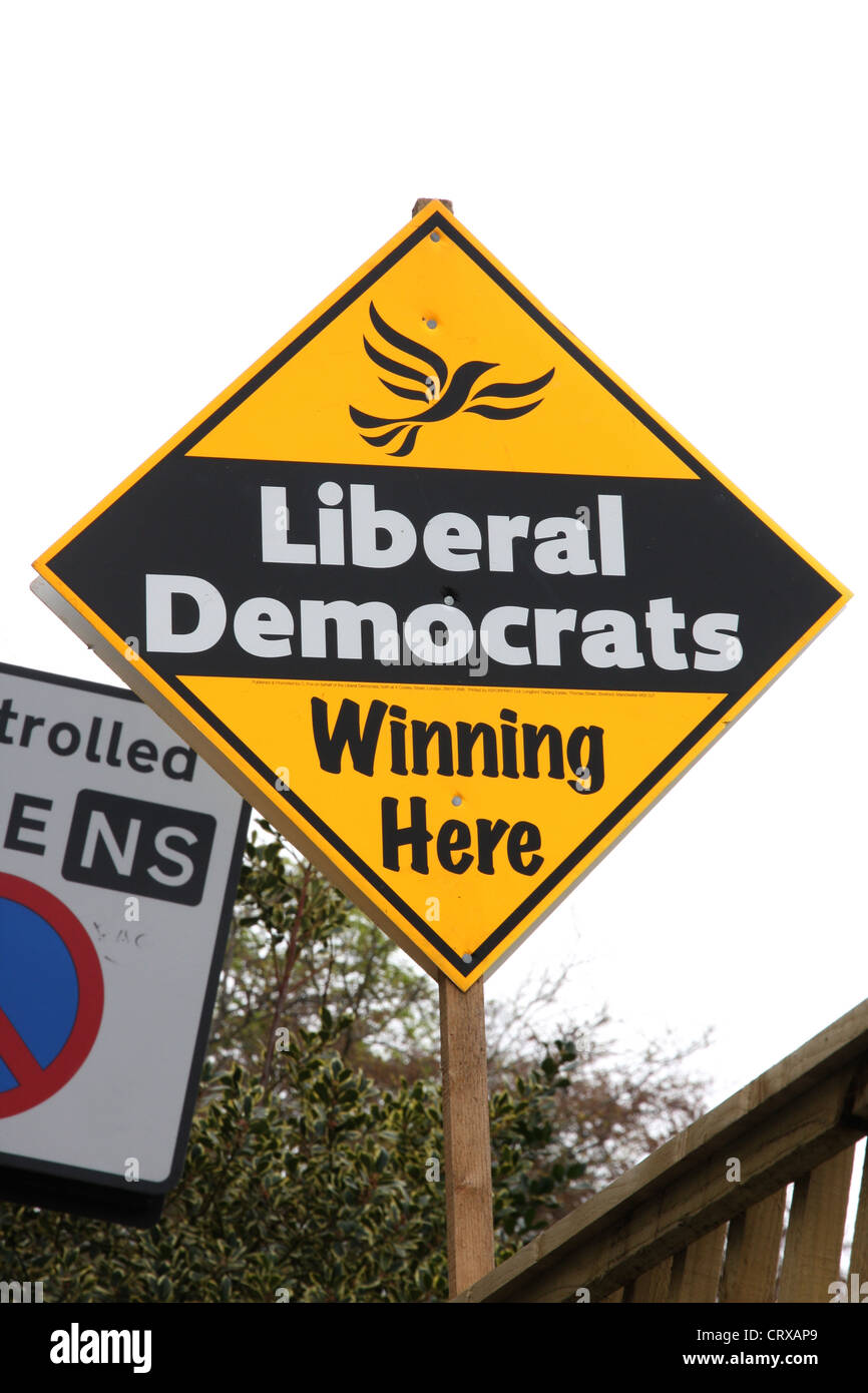 A Liberal Democrats sign saying winning here at the run up to a local election. - Stock Image