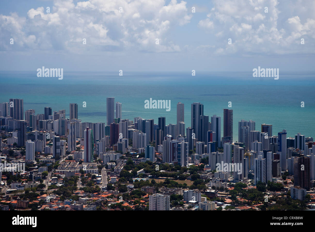 Boa Viagem neighborhood and beach in Recife city, Pernambuco State, Brazil - Stock Image