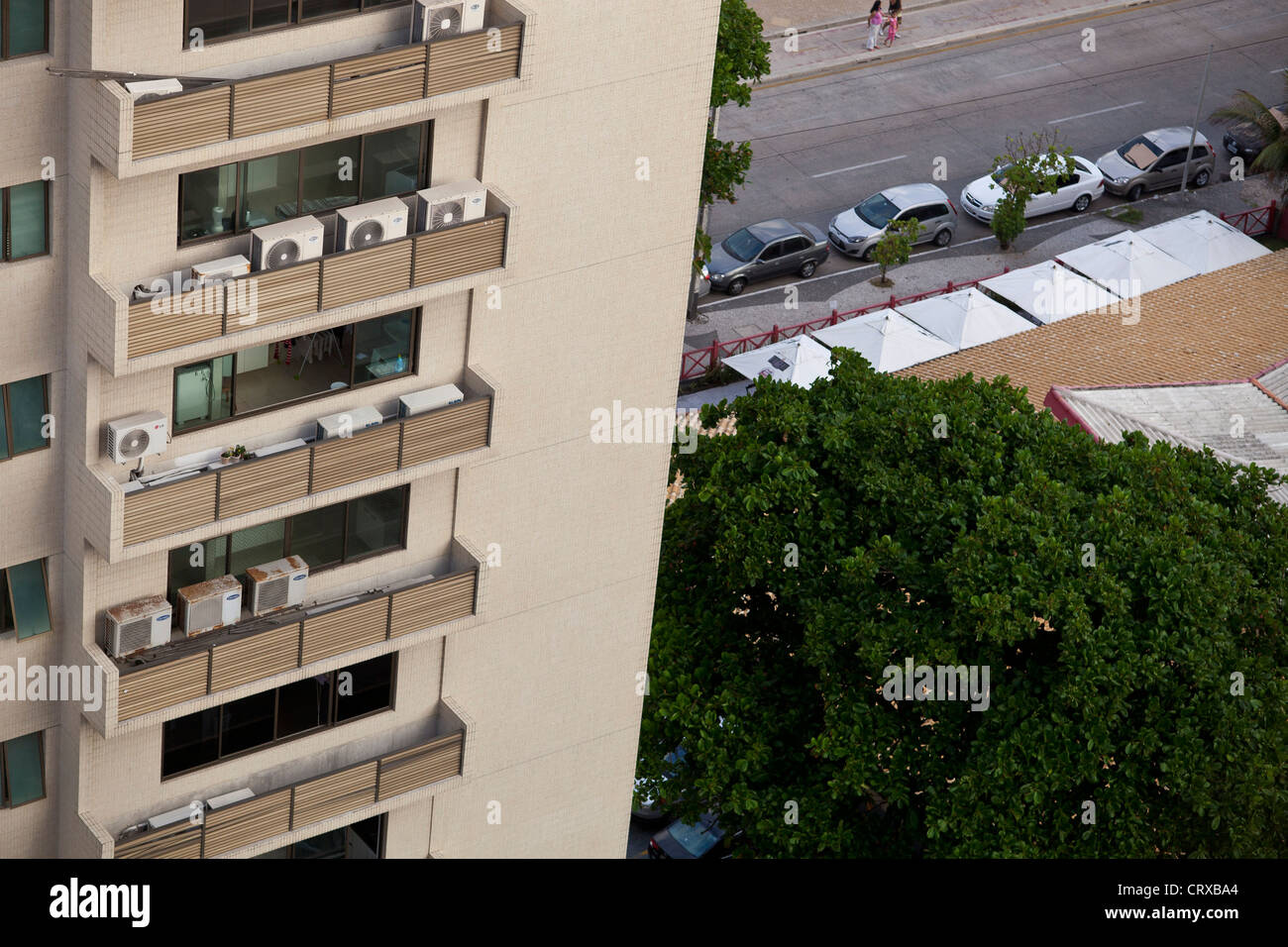 Middle-class apartments with several air conditioners, high consumption of electricity Recife Pernambuco Brazil - Stock Image
