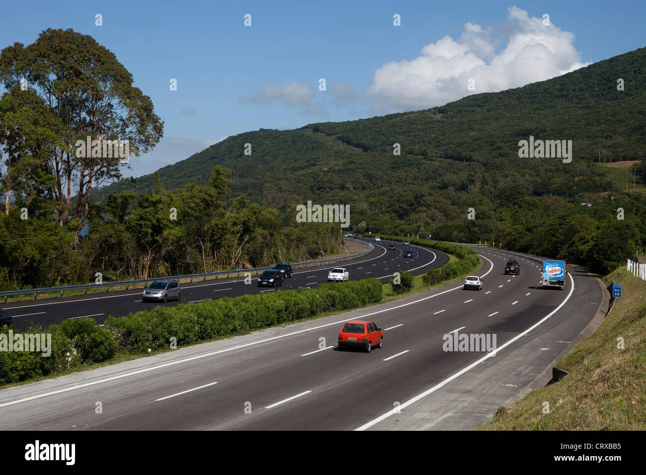 BR-290 - Osvaldo Aranha highway, Rio Grande do Sul State, South Brazil - Free-way - Stock Image