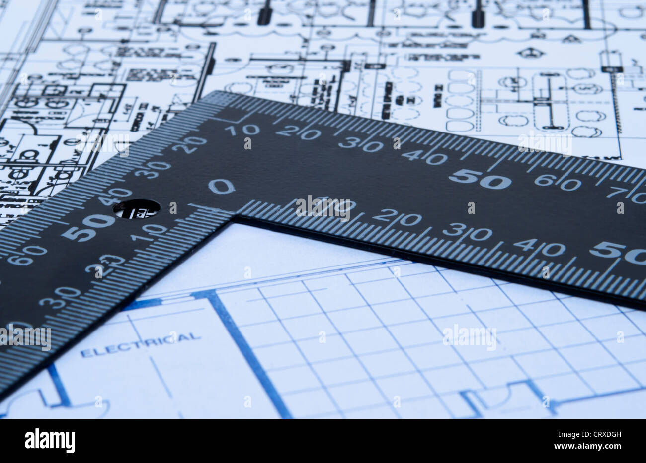 Building blueprint school stock photos building blueprint school set of architectural design blue prints with black angle ruler with copy space stock malvernweather Images