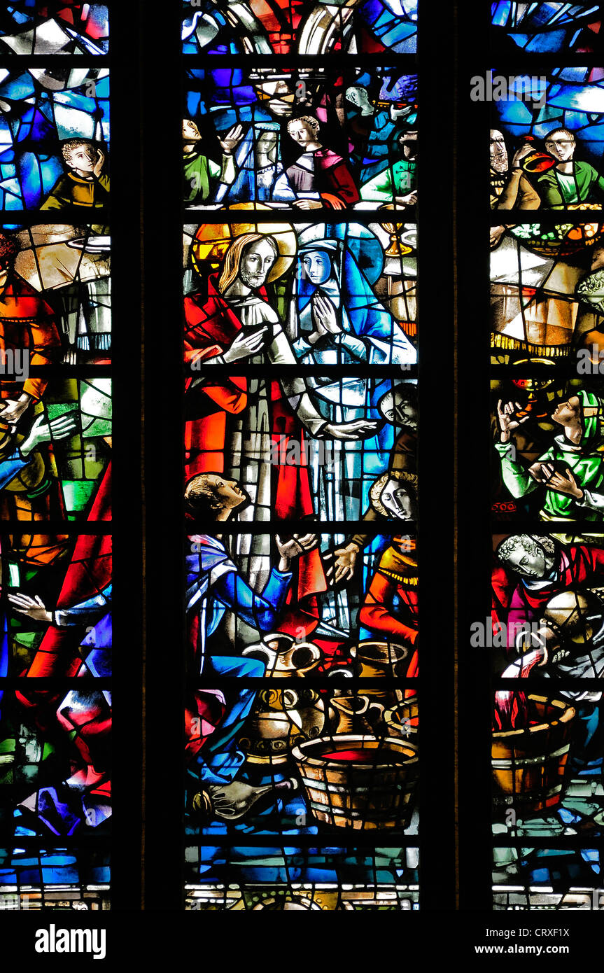 Liege, Belgium. Cathedrale St Paul. Modern Stained glass window. Wedding at Cana - Jesus turning water into wine Stock Photo