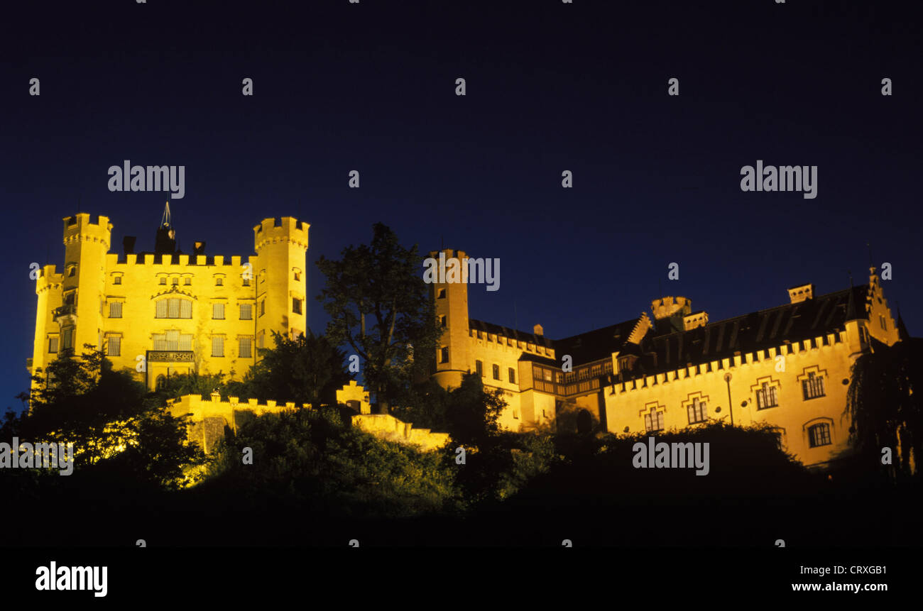 Hohenschwangau Castle in the blue hour - Stock Image