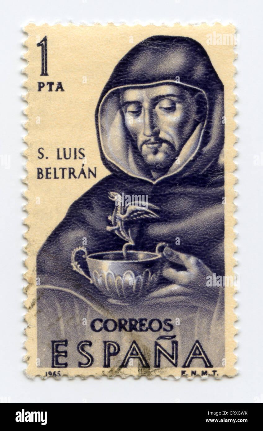 Spain postage stamp - Saint Louis Bertran - Stock Image