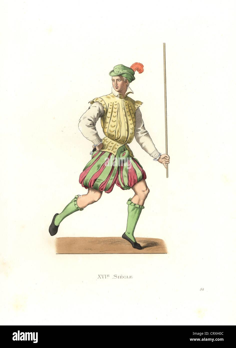 French lackey, 16th century. - Stock Image