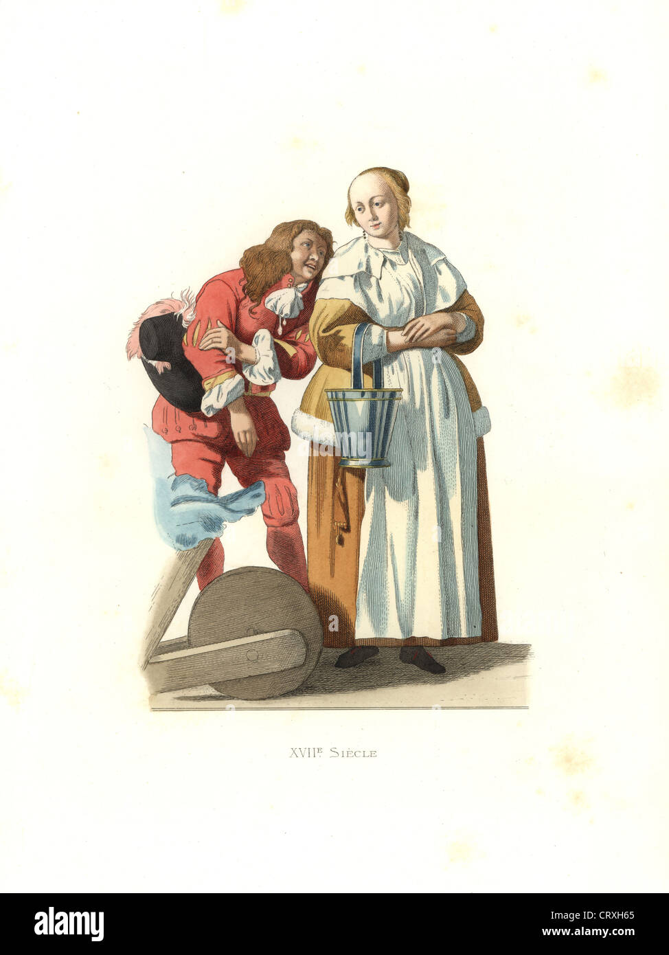 Dutch bourgeoise housewife with milk pail and page, 17th century, from a painting by Gabriel Metzu. - Stock Image