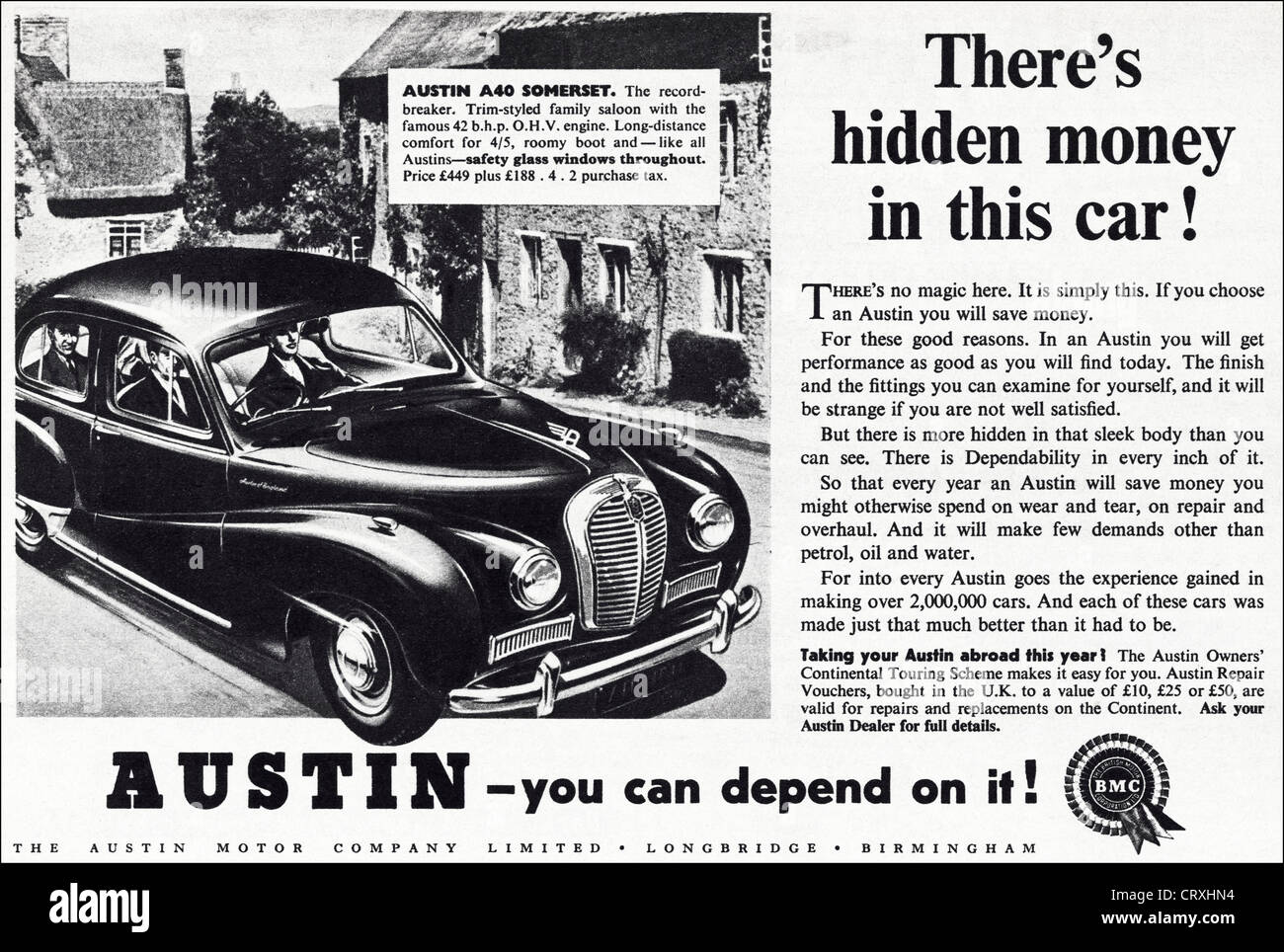 AUSTIN A40 SOMERSET saloon car advert. Original 1950s vintage print ...