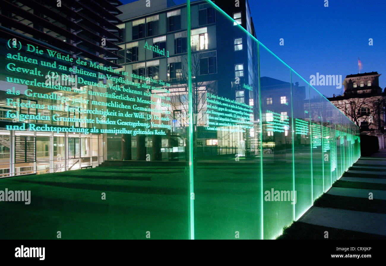 Illuminated glass panels with the fundamental rights German citizens - Stock Image