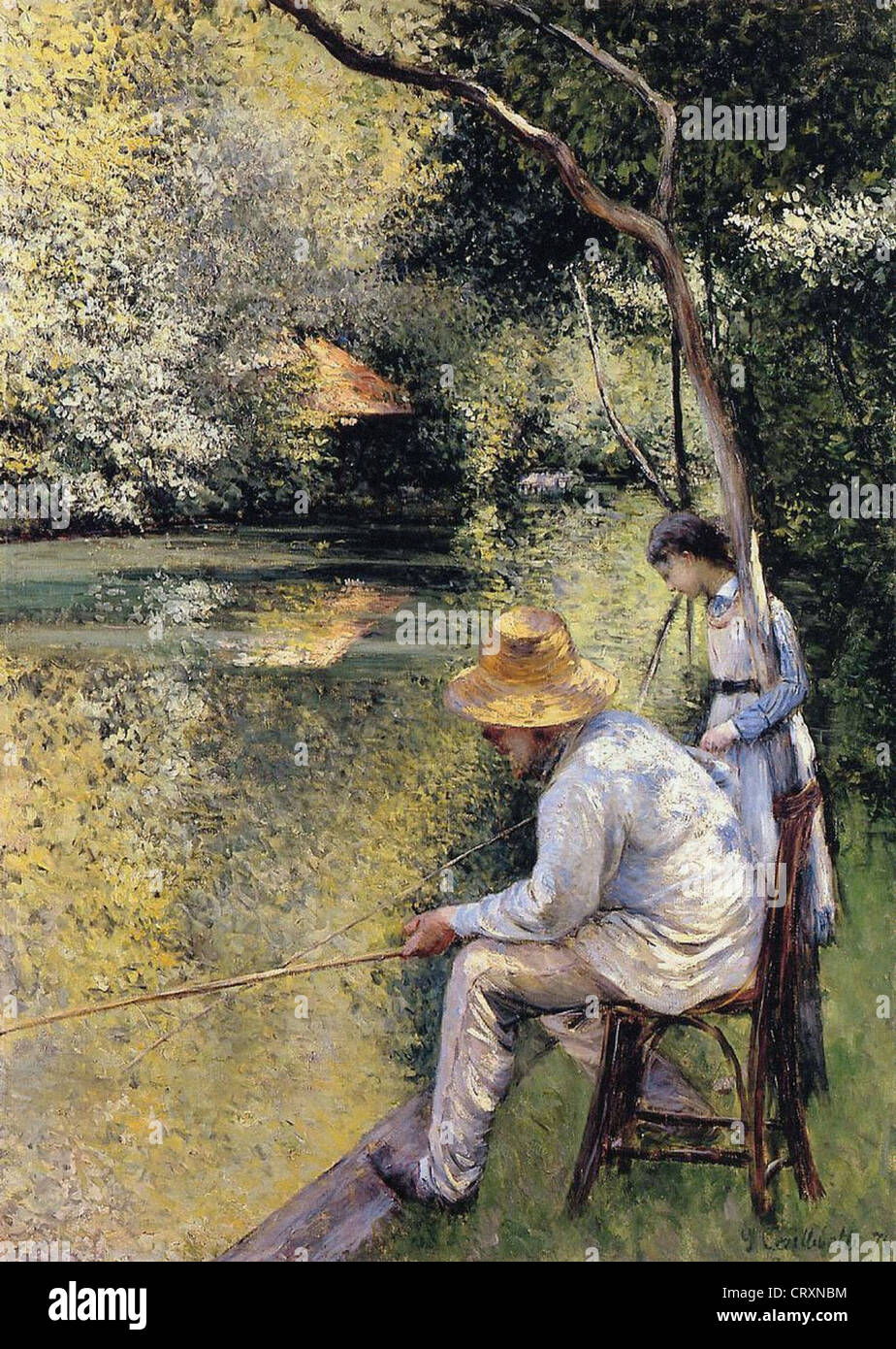 Gustave Caillebotte Pêcheur au bord de l'Yerres 1878 Private collection Fishermen along the Yerres - Stock Image