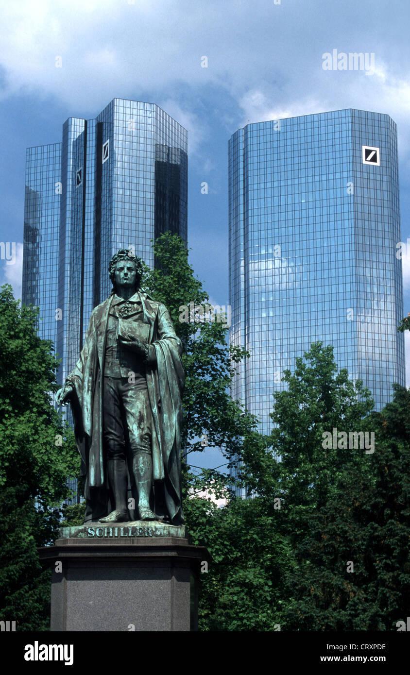 Schiller Monument In Front Of The Deutsche Bank In Frankfurt Stock