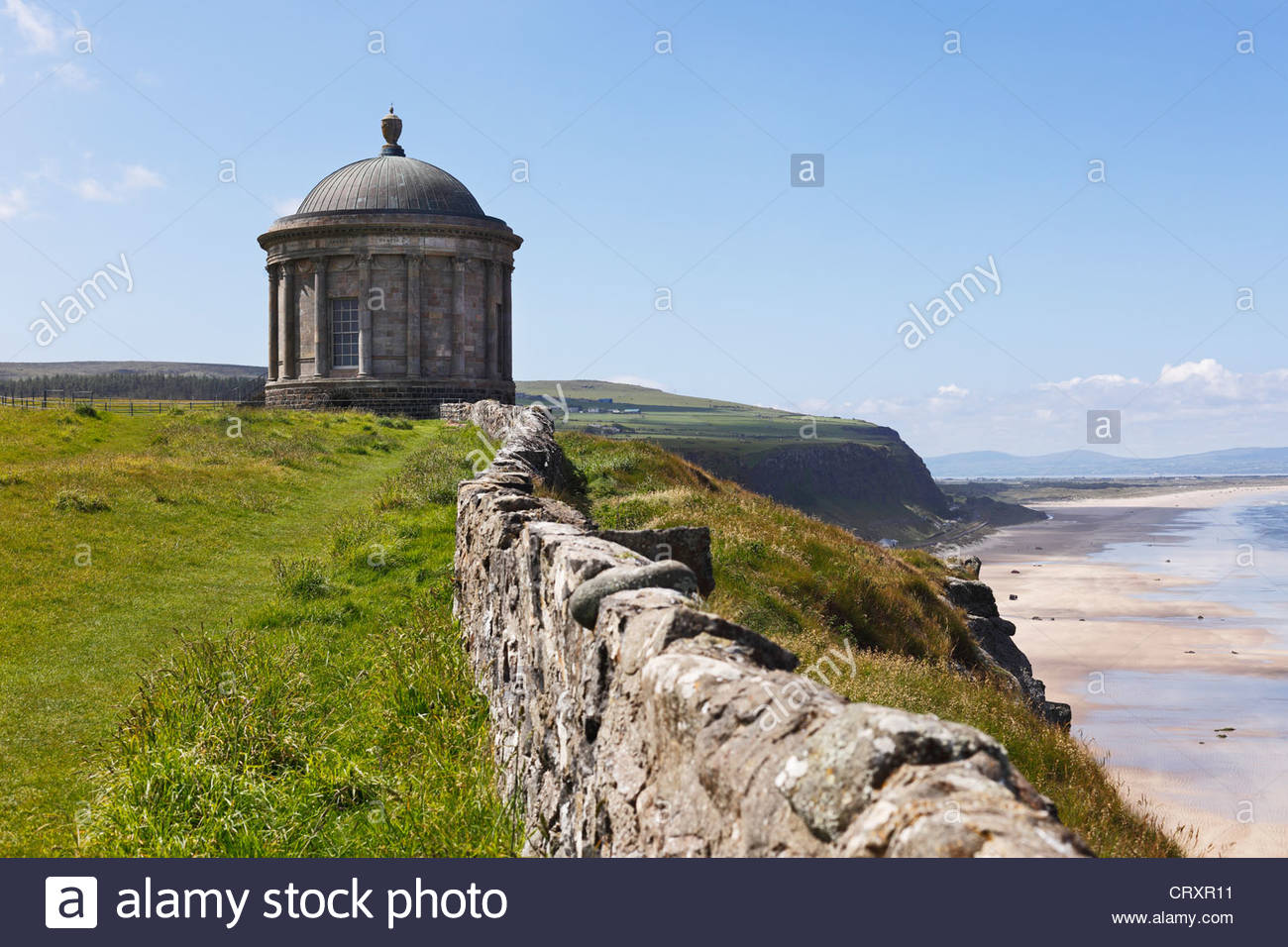 United Kingdom, Northern Ireland, County Derry, View of Mussenden Temple - Stock Image