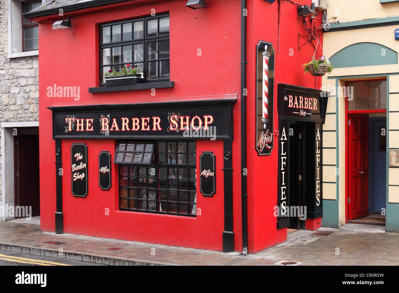 Ireland, Connacht, County Sligo, View of barber shop - Stock Image