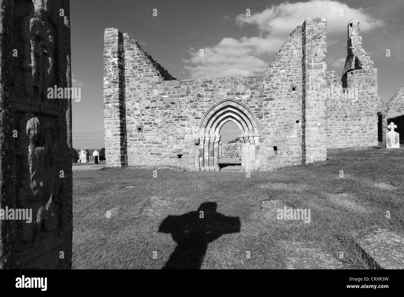 Ireland, Leinster, County Offaly, View of Clonmacnoise - Stock Image