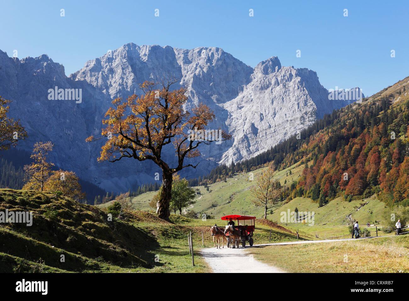 Austria, Tyrol, View of Karwendel Mountains in autumn - Stock Image