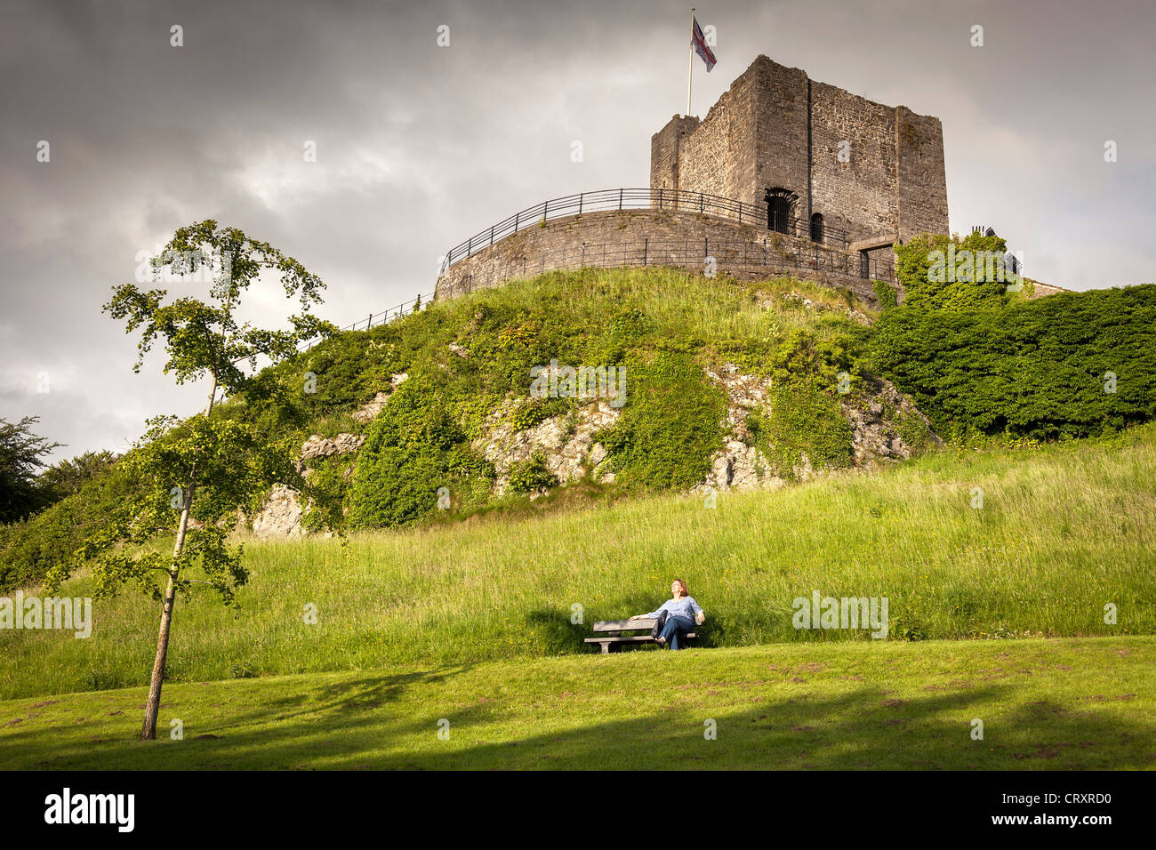 Clitheroe castle Lancahire. - Stock Image
