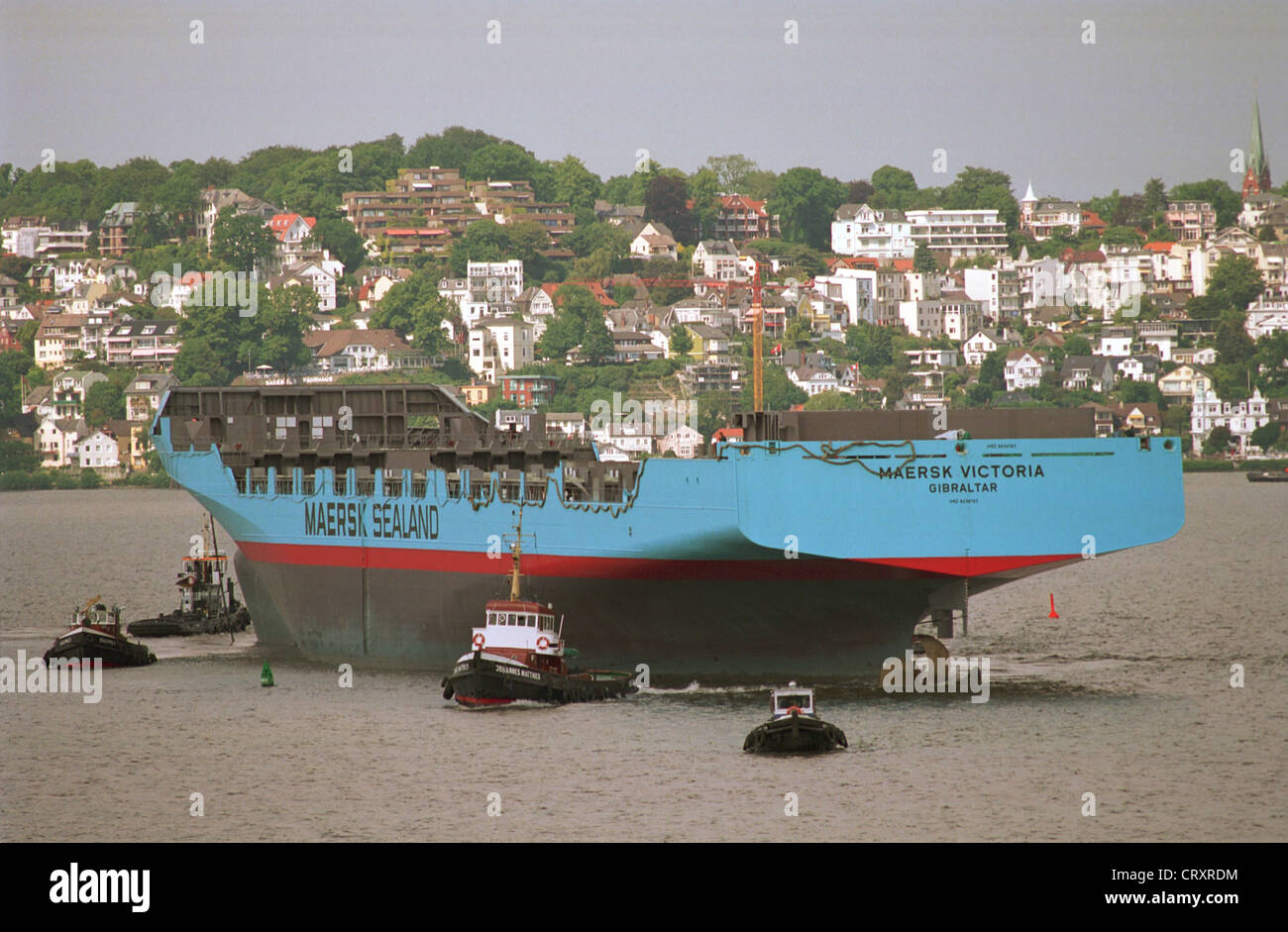 Hull is towed to Sietas - Stock Image