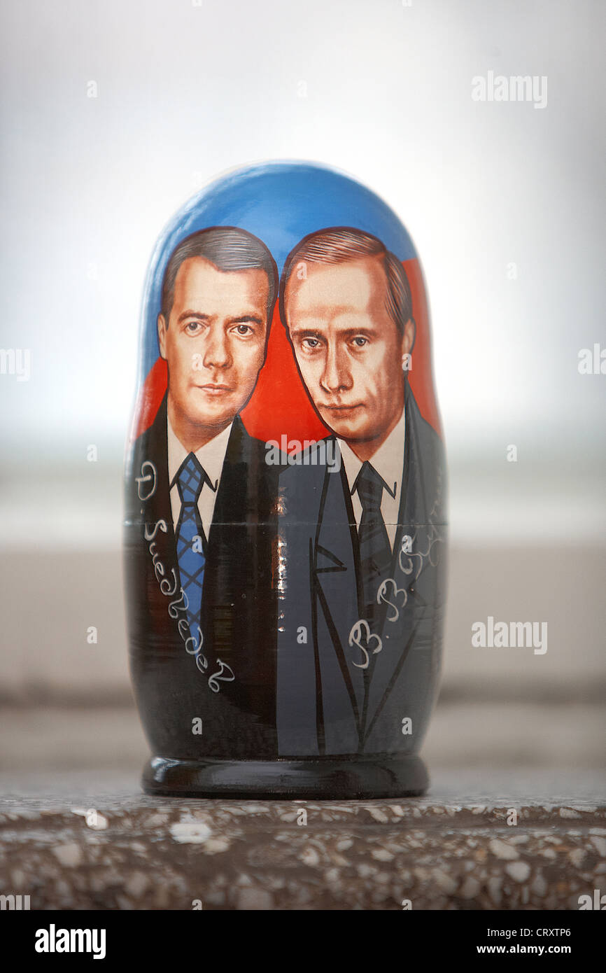 Russia, Moscow, Matryoshka showing pictures of Russian Presidents - Stock Image