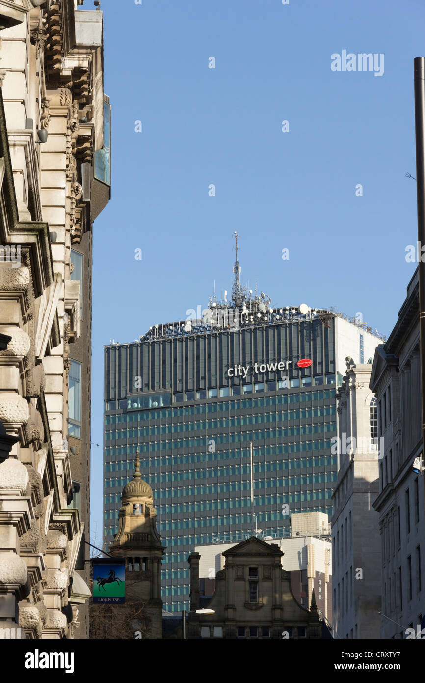 The City Tower, formerly the Sunley Building, in Manchester city centre sited adjacent to Piccadilly Gardens. - Stock Image