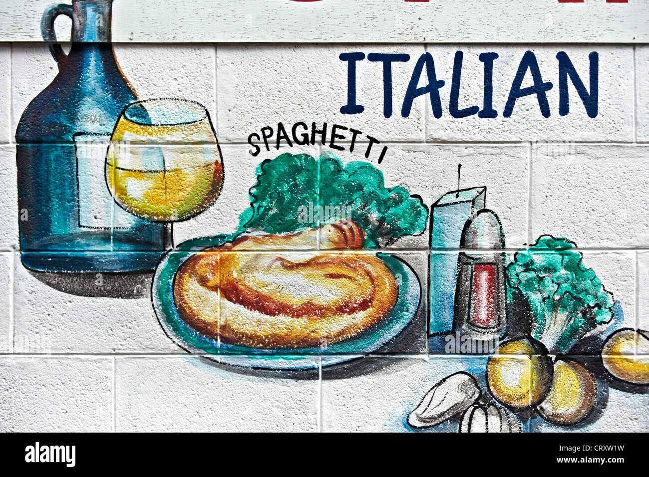 Wall Art Advertising Illustration Of Food At An Italian Restaurant Stock Photo Alamy