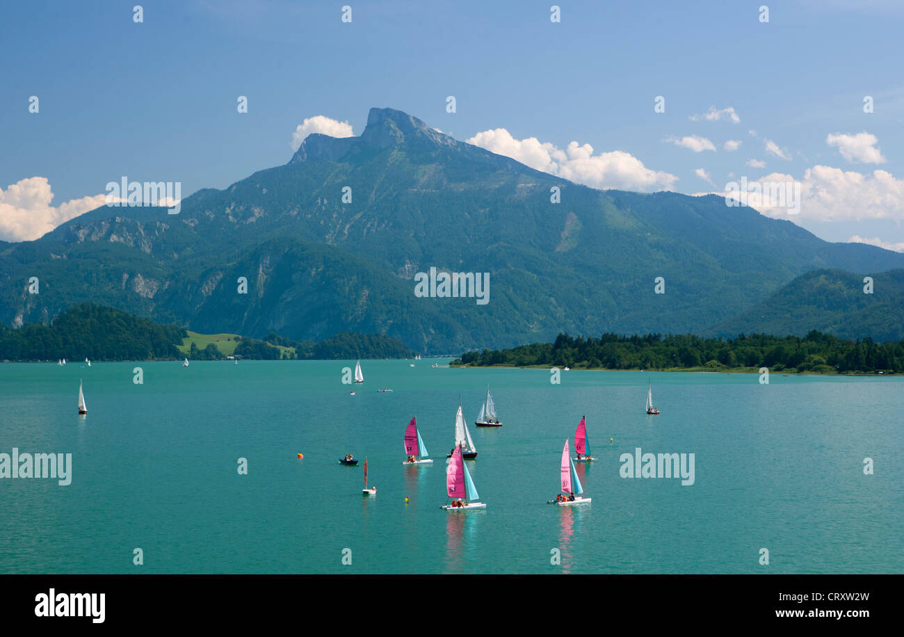 Austria, View of sailing boat in Mondsee Lake Stock Photo