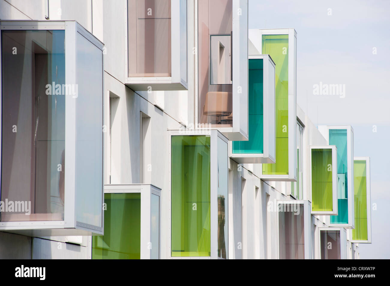 Exterior of modern Art'Otel with unusual architecture in Rheinauhafen district Cologne Germany - Stock Image