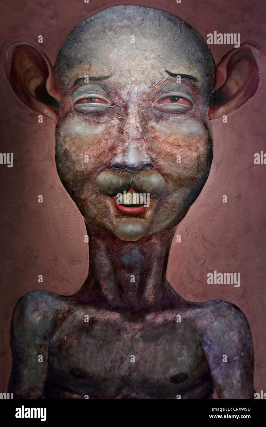 Bizarre surrealistic painting of an anthropomorphic human-like creature - Stock Image