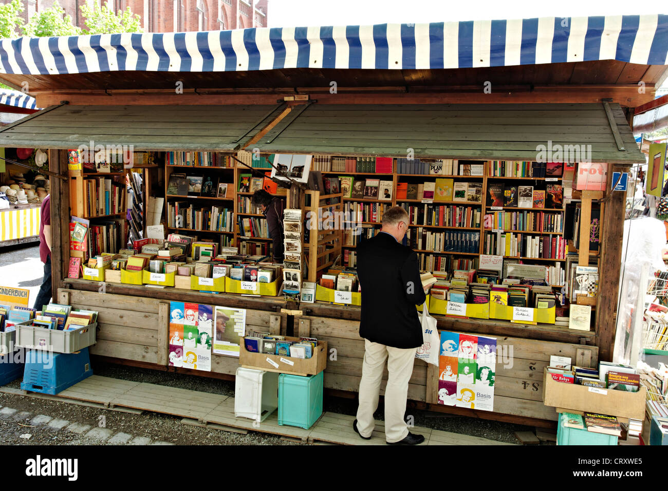 People shopping at the Auer Dult, Munich Upper Bavaria Germany - Stock Image