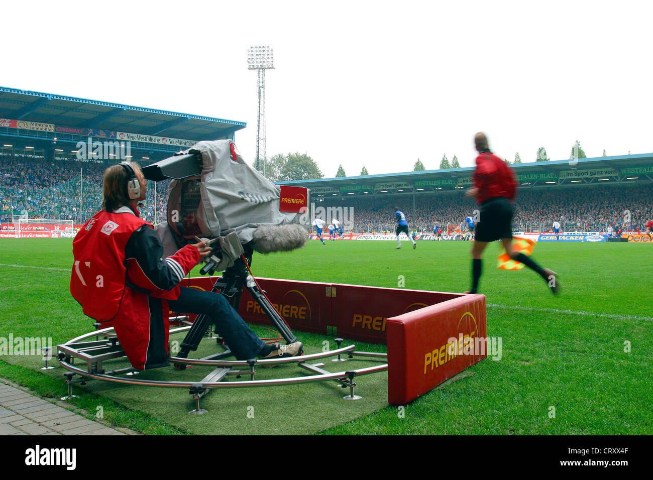 Bielefeld, PREMIERE camera when Bundesliga football match - Stock Image