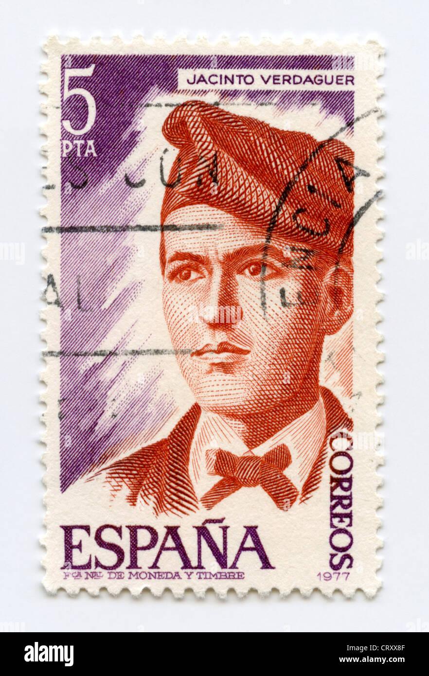 Spain postage stamp - Jacint Verdaguer, prominent Catalan poet - Stock Image