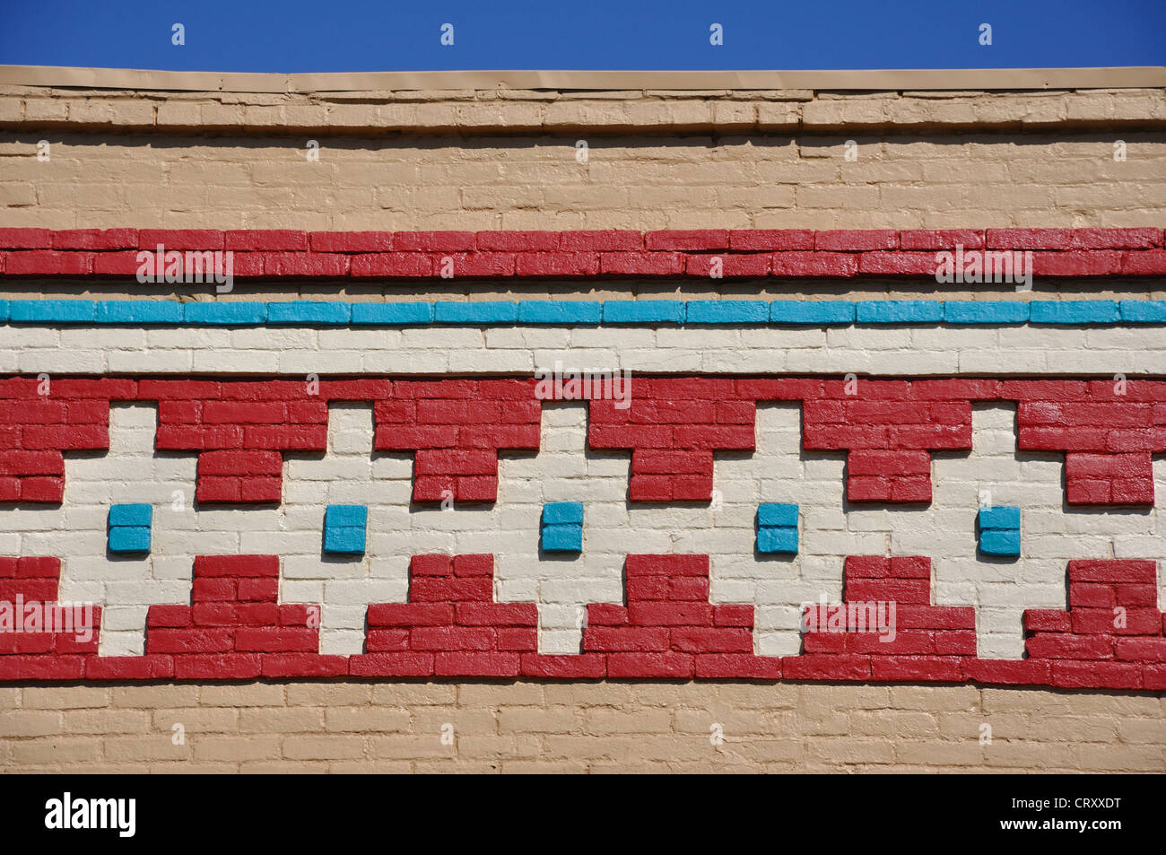 Winslow, Arizona, USA - a town along the Historic Route 66 - Native Indian painting detail on building - Stock Image