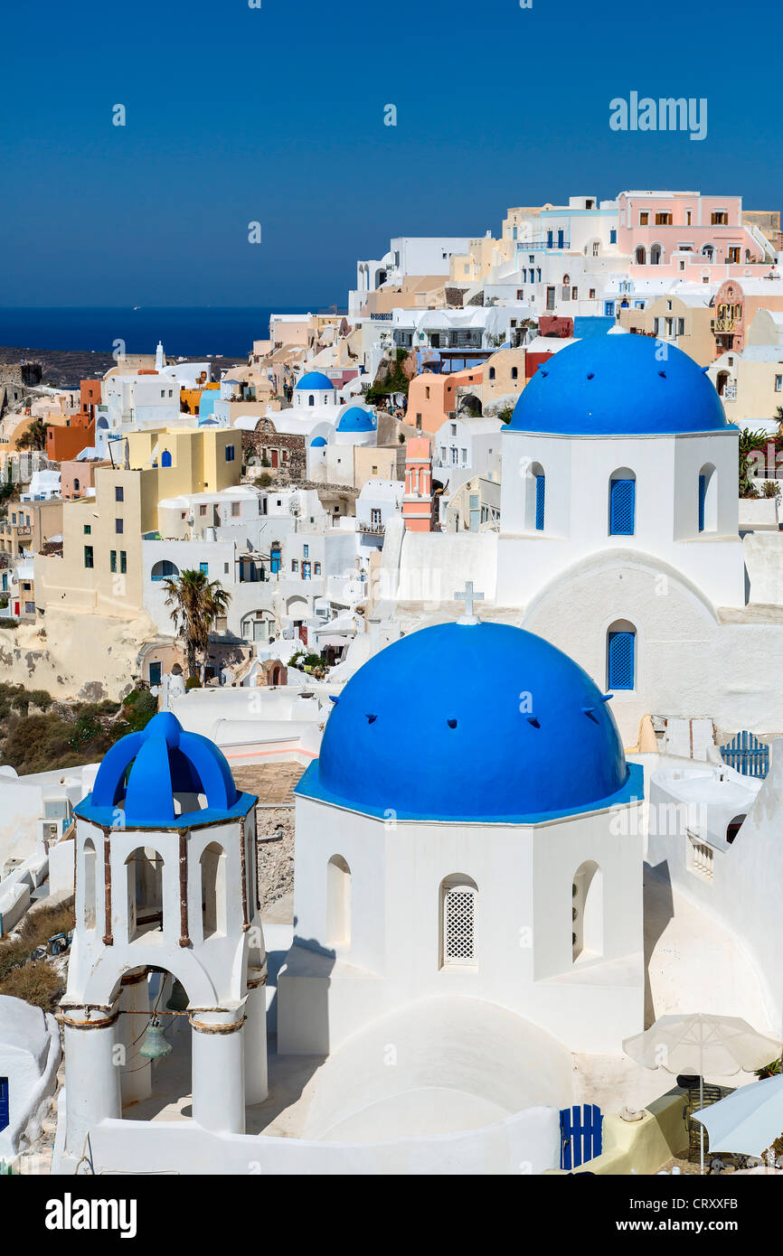Greece Santorini Oia Blue Dome Orthodox Church - Stock Image