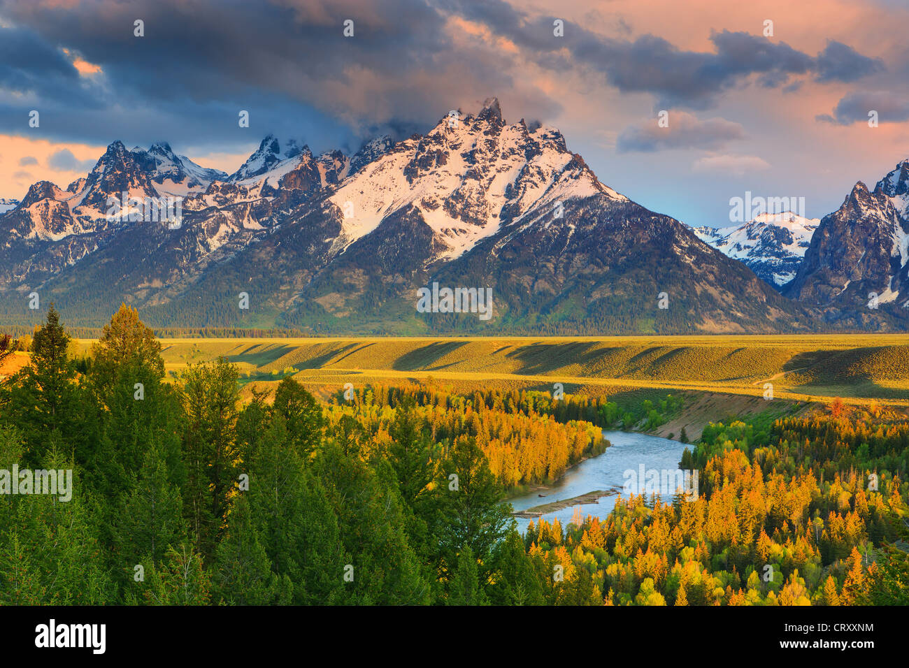 Sunrise at the Snake River Overlook at Grand Teton National Park in Wyoming, USA - Stock Image