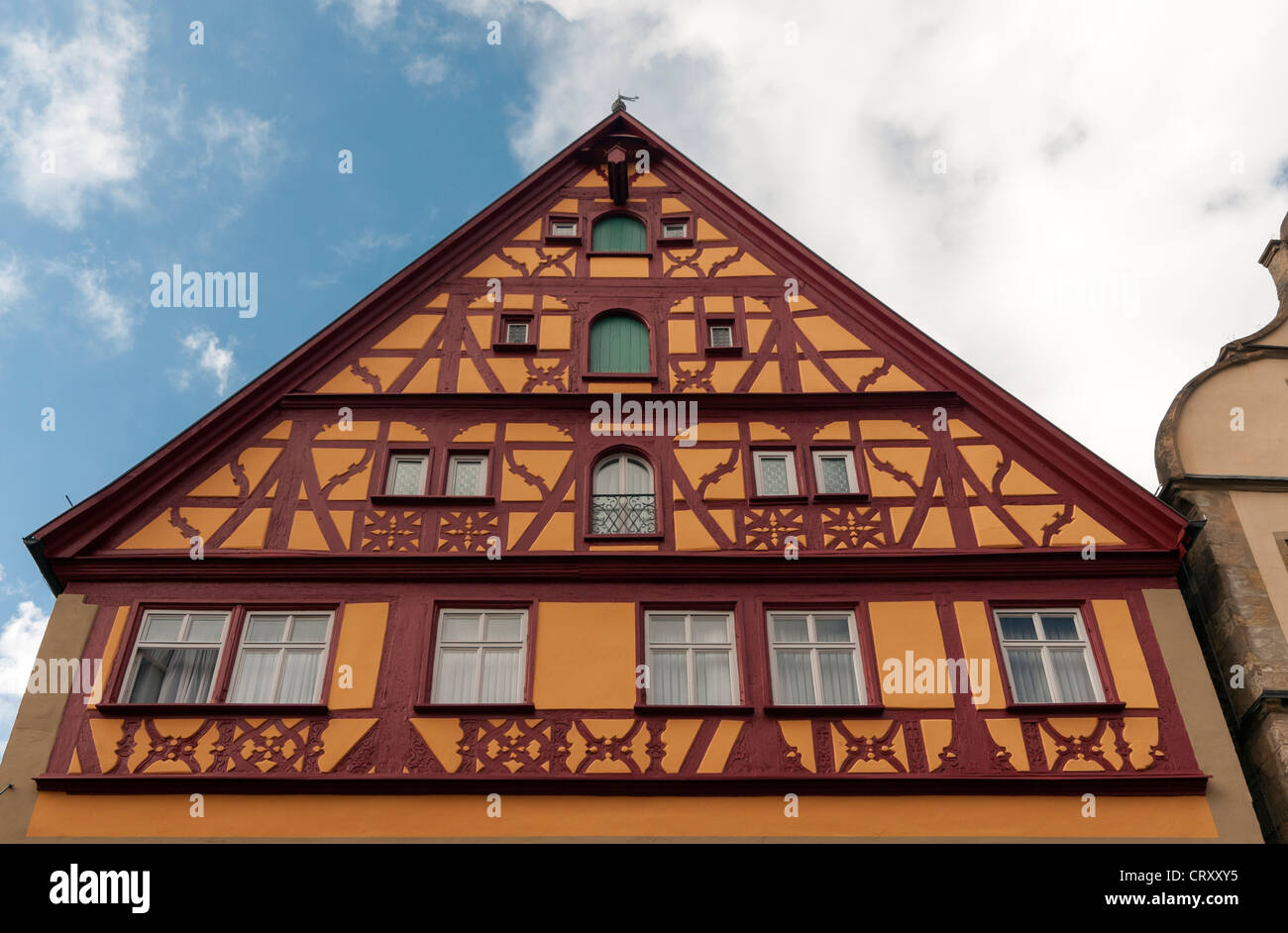 Gable of House with Timber framing (half-timbered) in Rothenburg ob der Tauber, Germany - Stock Image