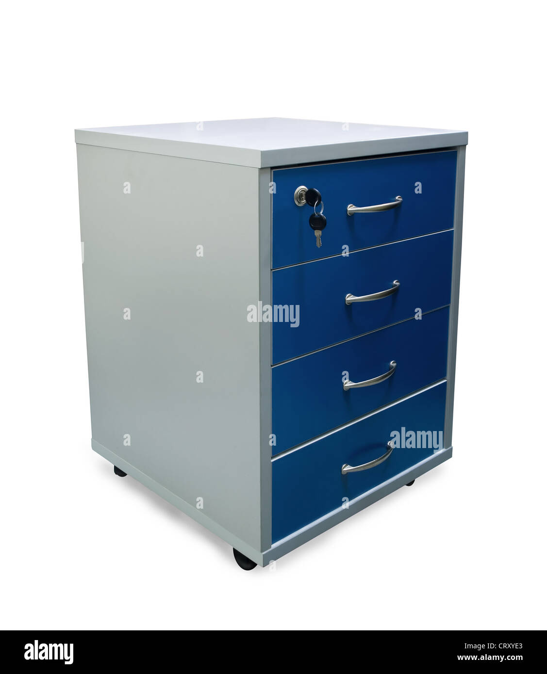 Four drawers of office filing cabinet isolated on white - Stock Image