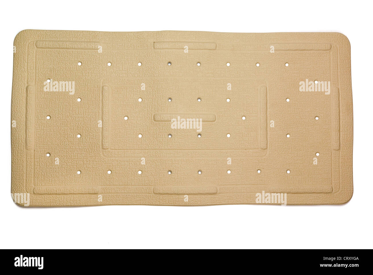 Anti-fungal, slip resistant rubber bath mat isolated on white - Stock Image