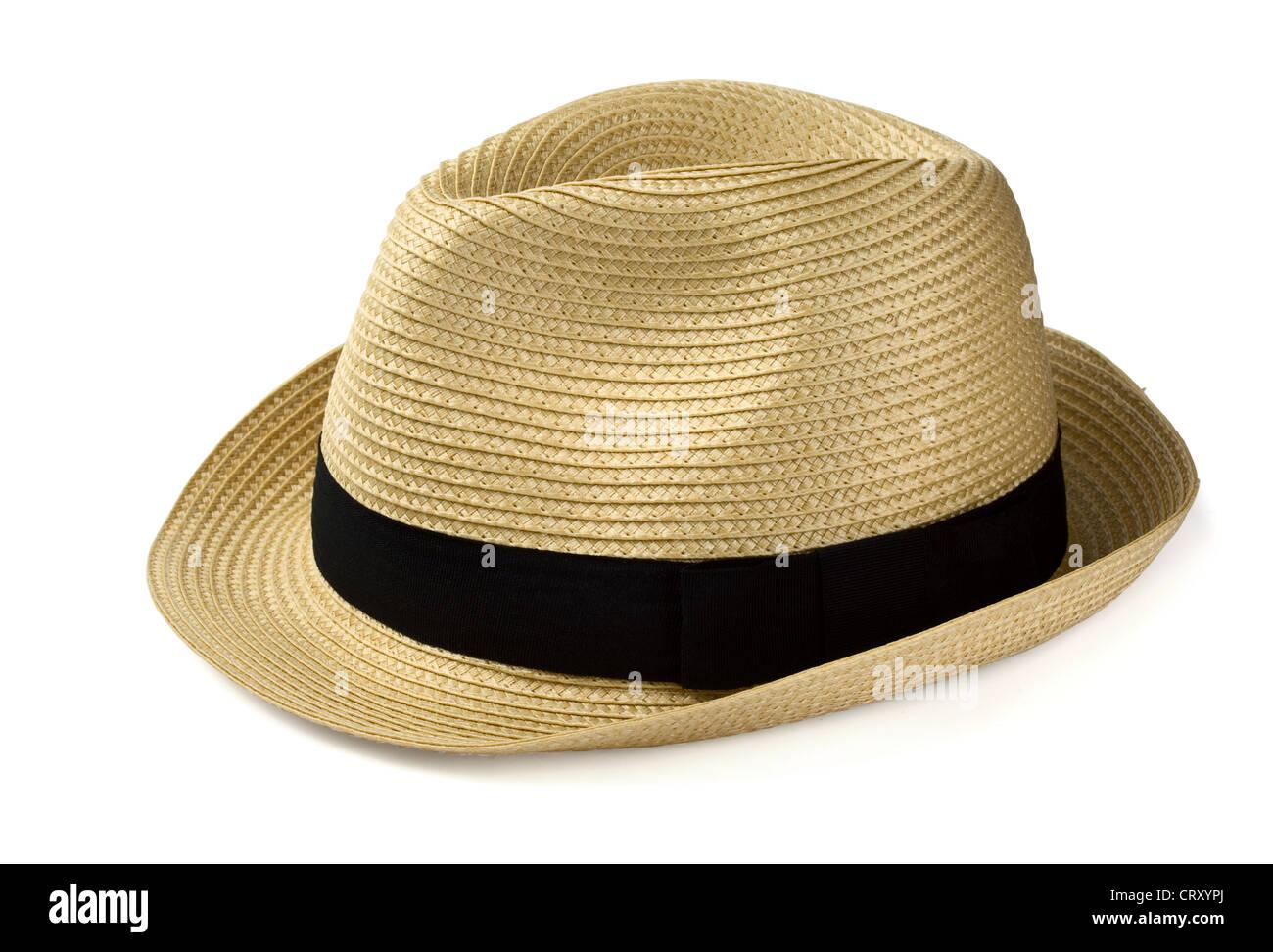 Summer panama straw hat isolated on white Stock Photo