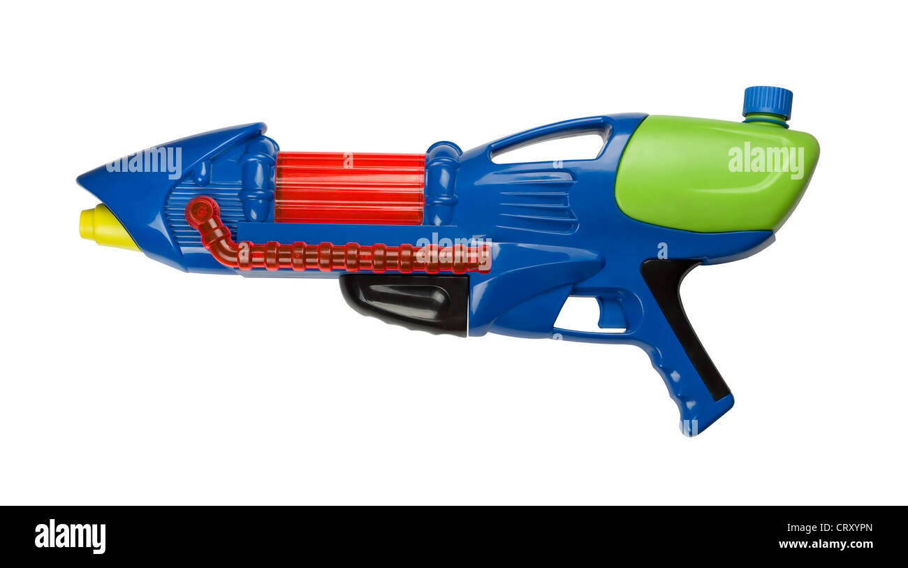 Blue plastic water squirt gun isolated on white - Stock Image