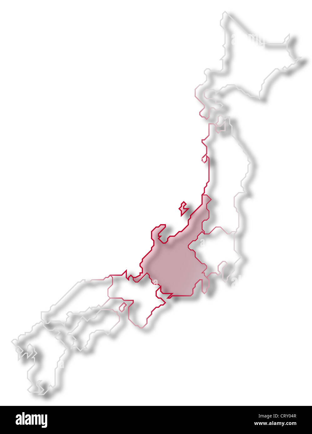 Japan Map Regions.Political Map Of Japan With The Several Regions Where Chubu Is Stock
